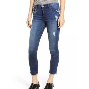 Embellished Crop Dark Wash Jean
